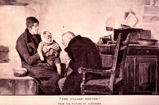 <p>A doctor examines a child in his office.</p>