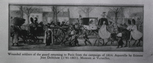 <p>Wounded soldiers are returning to Paris following the campaign of 1814.</p>