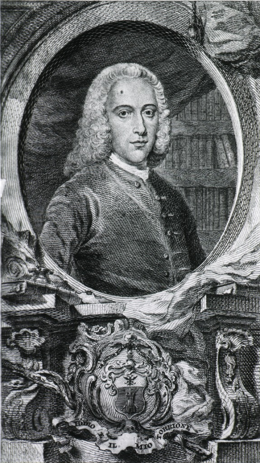 <p>Portrait in oval, with coat-of-arms underneath.  Full face.</p>