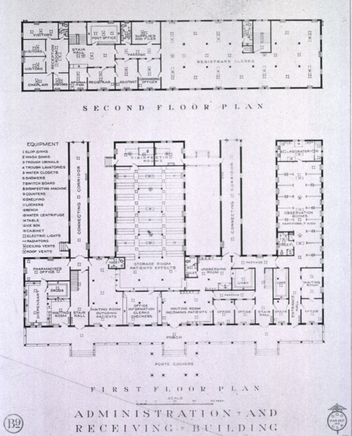<p>Second and first floor plans for B9 administration and receiving building.</p>