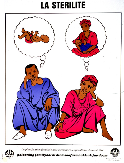 <p>White poster with black lettering.  Title at top of poster.  Visual image is a color illustration of a man and woman sitting together.  A thought bubble above the man's head features an infant.  A thought bubble above the woman's head features the woman breastfeeding an infant.  Caption in French and Wolof below illustration indicates that family planning can help resolve infertility problems.  Publisher information in lower right corner.</p>
