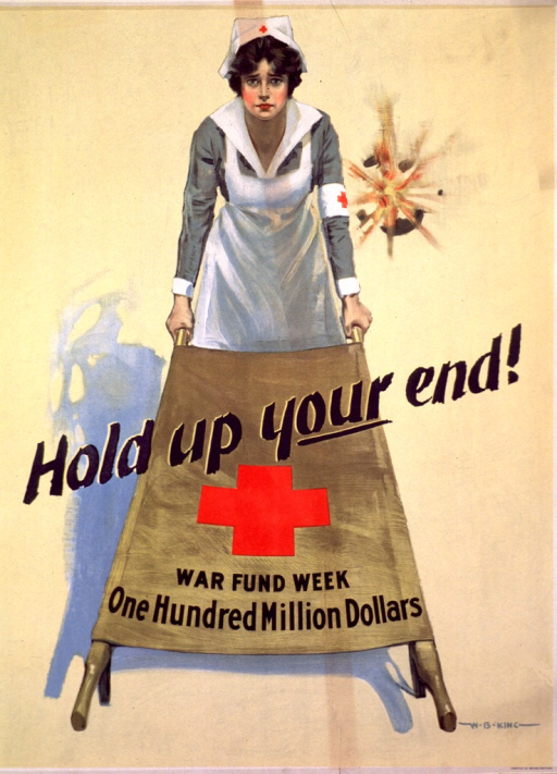 <p>Light yellow poster with a Red Cross nurse holding up one end of a brown stretcher, and shell fire behind her. The title goes across the center of the poster, going across the top portion of the stretcher. A large Red Cross logo is under the title, under which is the picture caption. The poster is signed in the lower right corner.</p>