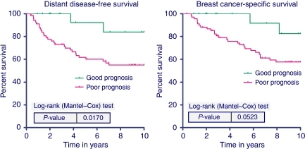 Ten-year distant disease-free survival (left) and breast cancer-specific survival (right) according to the 70-gene signature for the 89 HER-2-positive patients who did not receive chemotherapy or trastuzumab.