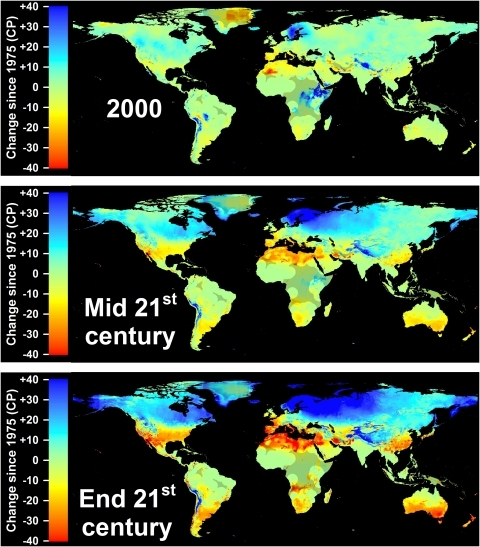 Modeled and projected losses in Safe Winter Chill compared to 1975 for the year 2000 (top), the middle of the 21st century (middle), and the end of the 21st century (bottom).For each point in time, results are averaged over three greenhouse gas emissions scenarios and three Global Climate Models. Areas that are more than 5° away from the closest weather station are shaded, because interpolated results are unreliable.