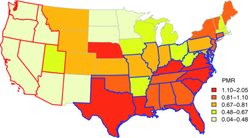 Choropleth Map Of Proportional Morbidity Ratios Pmr Of Fiv To Felv Infection In The