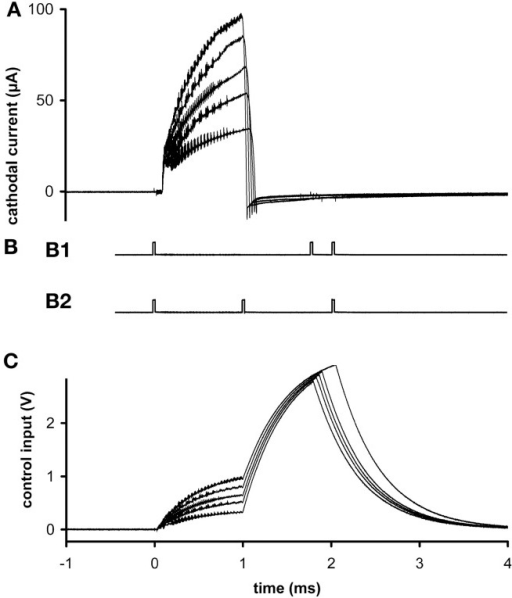 Ex vivo testing. (A) The stimulus current measured at 5 different stimulus amplitudes. (B) External signaling pulses sent during the highest amplitude current. The pattern alternated between (B1) and (B2) during the active stimulation phase. The first pulse interval in (B1) represents stimulus width plus clock time and the second represents stimulus amplitude; the first interval in (B2) represents pulse width and the second represents clock time plus amplitude. The alternation allows more than two parameters to be encoded with two intervals, to reduce power usage while transmitting at a reasonably fast update rate to the external reader. Inactive phases were signaled by the presence of four pulses, so there was no alternation of pattern. (C) Control voltages delivered during the stimulus pulses of graph (A). All graphs have the same time base.