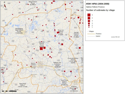 H5N1 HPAI outbreaks by village, 2004–2008 in Nakhon Pathom province.