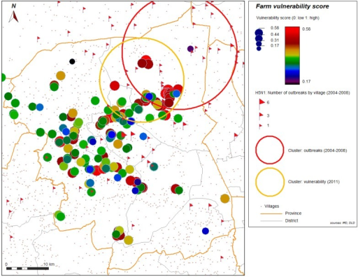 Most significant cluster of vulnerability (yellow), farms sector 2 and 3, and most significant cluster (red) of 2004–2008 H5N1 HPAI outbreaks, Nakhon Pathom province, Thailand.