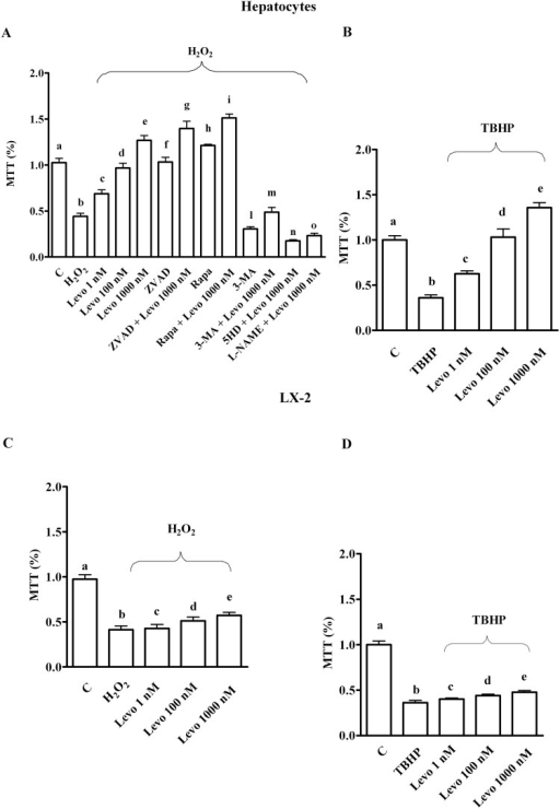 Effects of levosimendan on cell viability in hepatocytes and LX-2 that were subjected peroxidation.C = control; Levo = levosimendan; ZVAD = Z-VAD.FMK (Benzyloxycarbonyl-Val-Ala-Asp (OMe) fluoromethylketone), 25 mM; Rapa = rapamycin, 100 nM; 3-MA = 3-methyladenine, 10 mM; 5HD = 5 hydroxydecanoate, 1 μM; L-NAME = Nω-nitro-L-arginine methyl ester, 10 mM; MTT = 3-[4,5-dimethylthiazol-2-yl]-2,5-diphenyl tetrazolium bromide; TBHP = tert-butyl hydroperoxide, 250 μM. In A, b, c, d, e, f, g, h, i, l, m, n, o P < 0.05 vs a; c, d, e, f, g, h, i, l, m, n, o P <0.05 vs b; d, e P <0.05 vs c; e P <0.05 vs d; g, i, m, n, o P <0.05 vs e. In B, b, c, e P <0.05 vs a; c, d, e P <0.05 vs b; d, e P <0.05 vs c; e P <0.05 vs d. In C and D, b, c, d, e P <0.05 vs a; d, e P <0.05 vs b, c; e P <0.05 vs d. The results obtained in hepatocytes and LX-2 are expressed as means of 5 or 4 independent experiments (%) ± SD (indicated by the bars), respectively.