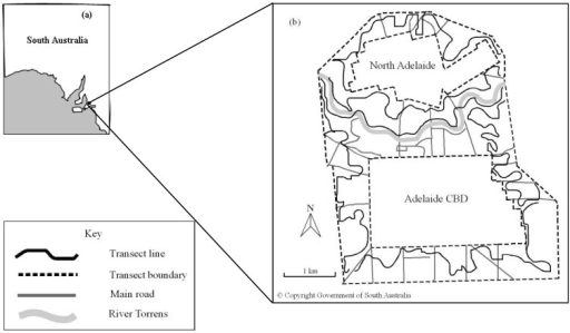 (a) Map of South Australia indicating Adelaide City [22]. (b) Bird survey transects in the Adelaide City parklands [23].