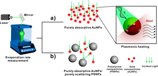 Schematic of evaporation performance set up of (a) purely absorptive aqueous AuNP solution and (b) purely absorptive AuNPs mixed with purely scattering PSNPs under 532-nm laser light illumination. The induced plasmonic heat is utilized to enhance the evaporation of water. (Fig. 1 was drawn by Chengyi Song).
