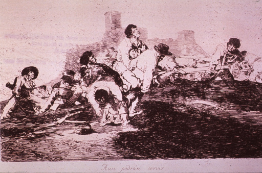 <p>Battlefield scene showing men carrying the wounded from the field.</p>