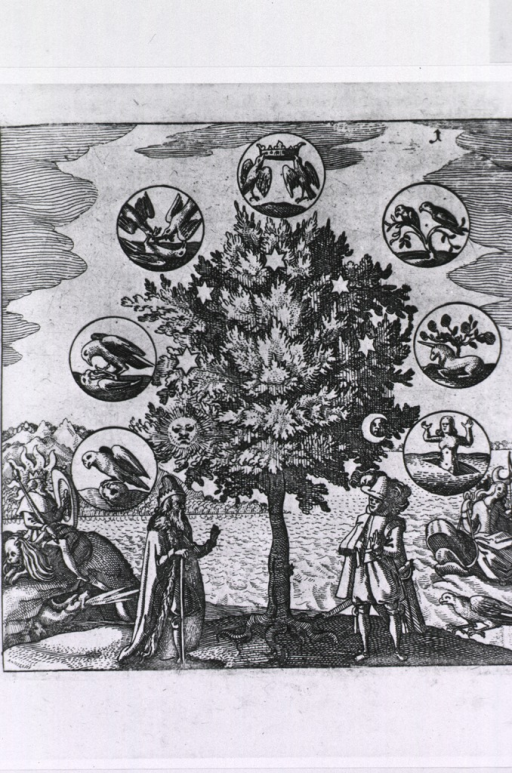 <p>On one side of a tree an old man is standing next to Apollo who is sitting on a lion; on the other side a young man is standing next to Artemis/Diana; ranged round the tree are birds, unicorns, representations of life, death, and resurrection.</p>