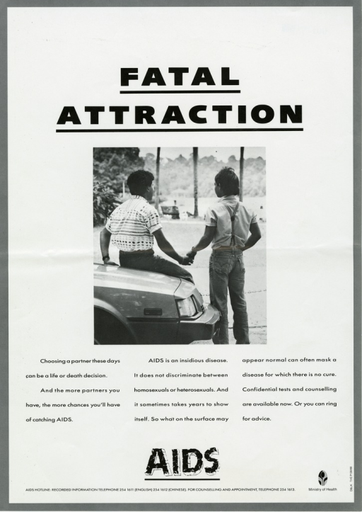 <p>Predominantly white poster with black lettering.  Title near top of poster.  Visual image is a b&amp;w photo reproduction showing a male-male couple holding hands.  One man sits on the hood of a car; the other stands.  The scene is shot from behind.  Caption below photo stresses that anyone can get AIDS and it may not be recognized at first.  Note below caption.  Publisher information in lower right corner.</p>