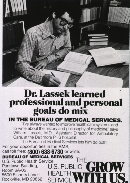 <p>Advertisement to attract physicians to rural communities through the Bureau of Medical Services; visual motif: a man seated at a table in a library.</p>