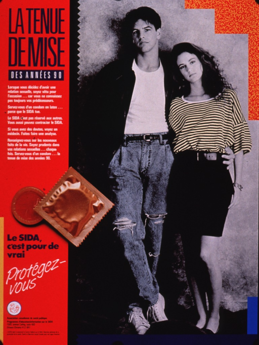 <p>Poster with a red column on the left, the title in blue, and the remainder of the text in blue or white. The visual is the photo reproduction of a young couple: the female wearing a striped top and short skirt, and the male wearing a leather jacket, white T-shirt, and jeans with ragged tears. A condom and its packaging overlap the red column and visual. The publisher and logo are given at the bottom of the poster.</p>