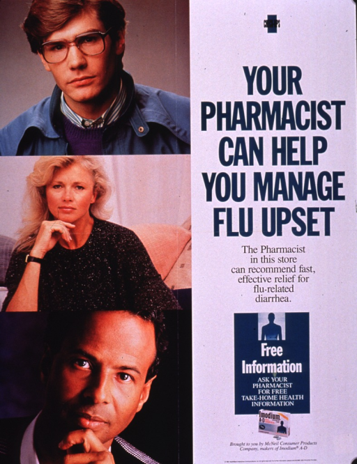 <p>Multicolor poster.  All text on right side of poster.  Series information at top; title below series.  Caption below title.  Publisher and sponsor information at bottom of poster, along with a color photo reproduction showing a box of Immodium A-D tablets.  Dominant visual images are three color photo reproductions featuring adult faces.</p>