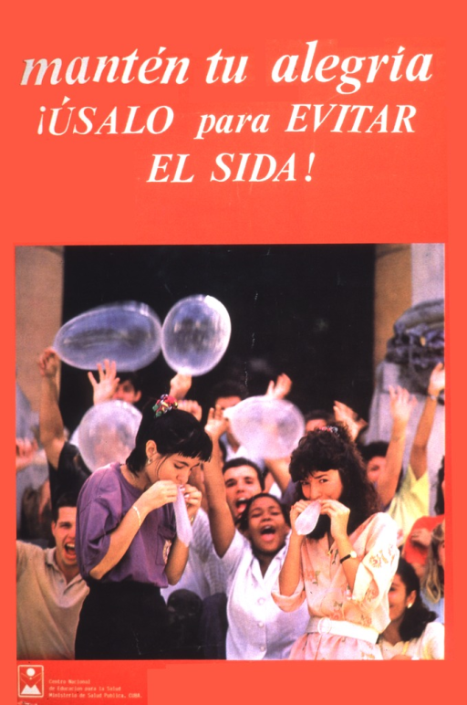 <p>Two women are blowing up condoms as one would a balloon.  In the background, among the crowd, there are three people waving blown up condoms.</p>