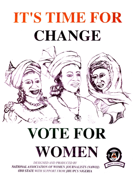 <p>White poster with multicolor lettering.  Initial title phrase at top of poster.  Visual image is an illustration of three women, shown from head to shoulders.  Remaining title phrase below illustration.  Publisher and sponsor information at bottom of poster.  Publisher logo in lower right corner.</p>