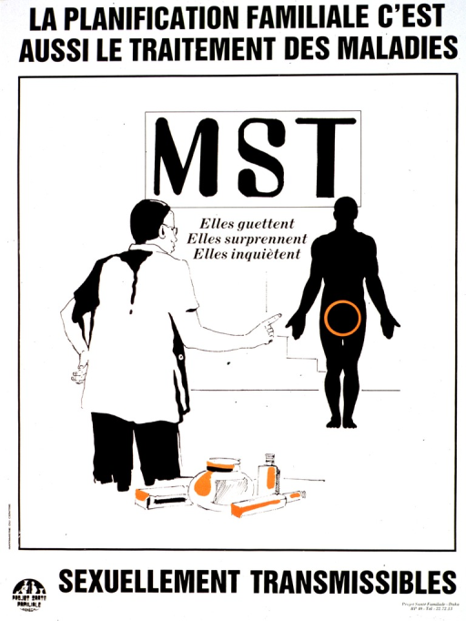 <p>White poster with black lettering and orange highlights.  Most of title at top of poster.  Visual image is an illustration of a health worker pointing toward a silhouette of a man.  The man's genital area is circled.  Some containers sit on a table near the health worker.  Caption in the background of illustration.  Caption indicates that STDs lie in wait, can be a surprise, and can be worrisome.  Remaining title text below illustration.  Publisher information at bottom of poster.</p>