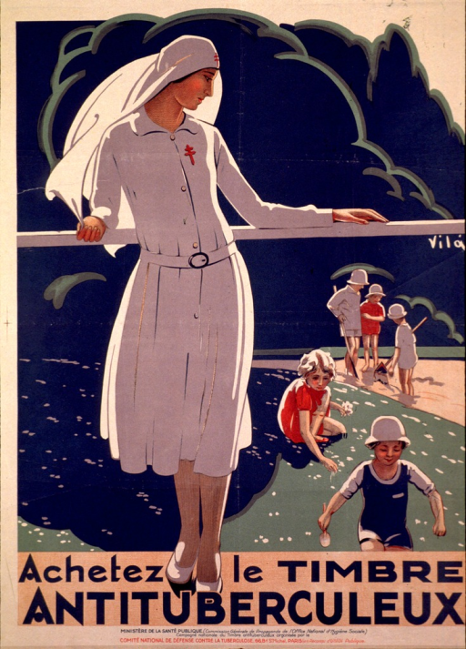 <p>Poster showing an outdoor scene with a nurse leaning against a railing looking over her shoulder at several children playing in the sand and picking flowers.</p>