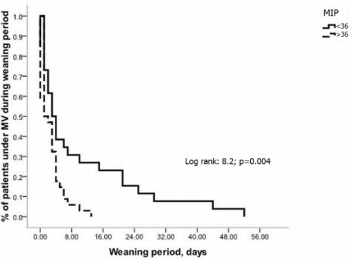 Kaplan-Meier curves of the probability of remaining under mechanical ventilation (MV) after the onset of weaning according to maximum inspiratory pressure (MIP < or ≥ 36 cmH2O).