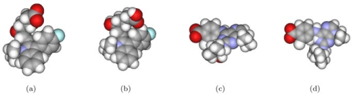 Two different conformations of two ligands: the native state and the minimum energy state.The minimized energy conformation is calculated by MM2 in ChemOffice software. (a) and (b) the native and the minimum energy conformations of 1hwi, respectively; (c) and (d) those of 1v0p.