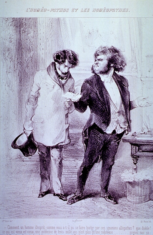 <p>Two men standing in a parlor; one hands the other a piece of paper.</p>
