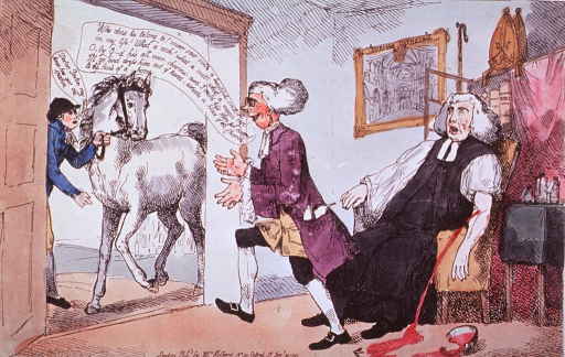 <p>A Bishop sitting in a chair with a stream of blood flowing from his arm onto the floor, where there is a broken bowl and a lancet.  The attending physician has dropped everything and steps towards the door to admire a beautiful horse.</p>