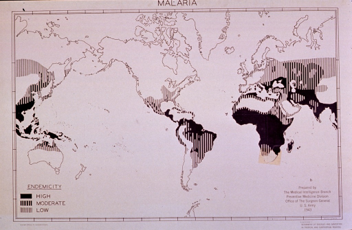 <p>Map showing endemicity of malaria in the world.</p>