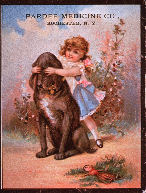 <p>Dr. Pardee's Remedy for a variety of ailments.  Visual motif:  A young girl standing behind a dog, with her hands over the dog's eyes.</p>
