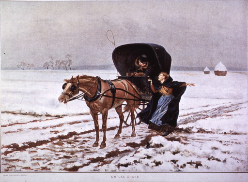 <p>A doctor in a horse-drawn buggy is stopped by a woman.</p>
