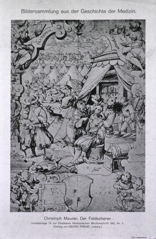 <p>Battlefield scene: in the foreground the surgeon is treating an arrow wound in a man's chest, directly behind them is the surgeon's tent open for view; the battle is in progress in the background.</p>