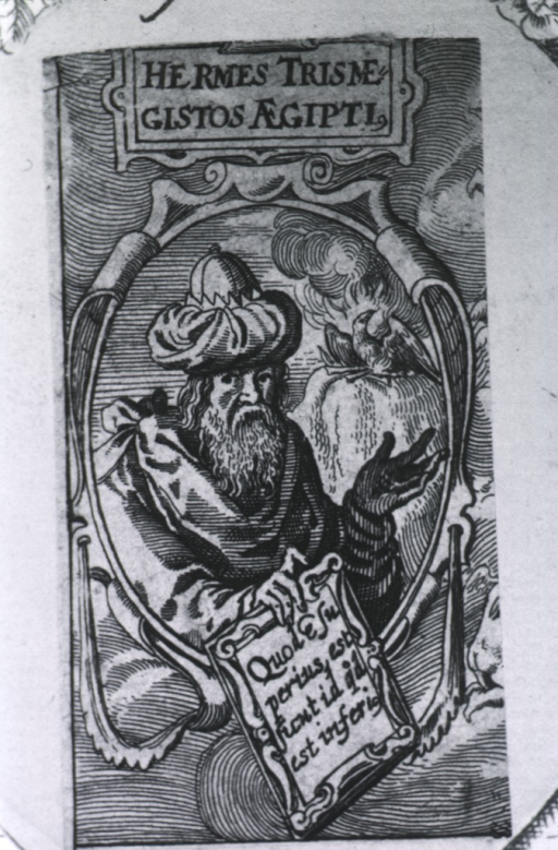 <p>Head and shoulders, right pose, full face; in oval; holding scroll; phoenix in background.</p>
