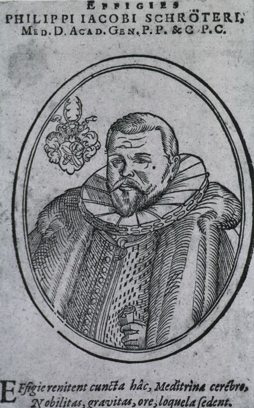 <p>Half length, pose to left; cloak with ruff; in oval; coat-of-arms.</p>
