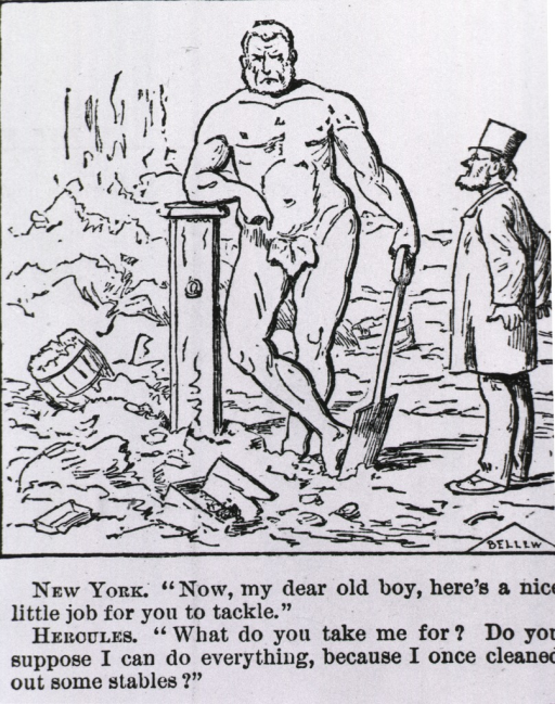 <p>New York...[cartoon on filthy streets of NYC].</p>
