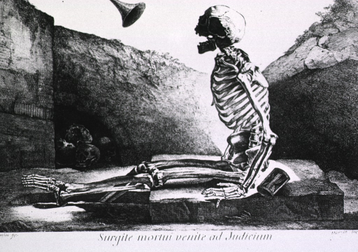 <p>Left profile of skeleton sitting on a stone slab that partially covers grave; right leg, bent at the knee, hangs in the grave; head is upturned, jaw open, facing horn appearing from above; hourglass on slab, skulls in opening in wall at left.</p>