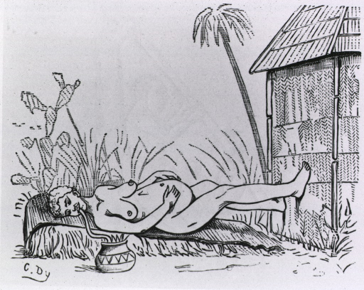 <p>A woman in labor is lying on an inclined mat, her feet resting against a building; she is sucking liquid through a tube from a bowl on the ground next to the mat.</p>