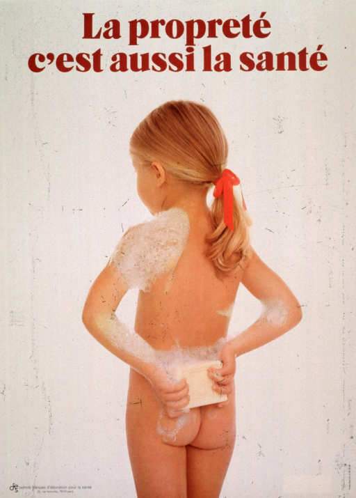 <p>Pale yellow poster with brown lettering.  Title at top of poster.  Poster is a reproduction of a color photo.  Photo shows a young girl from the back.  The girl is naked, covered only with some soap suds on her shoulder, arms, and lower back.  She holds a bar of soap just above her buttocks.  Publisher logo in lower left corner of poster.</p>