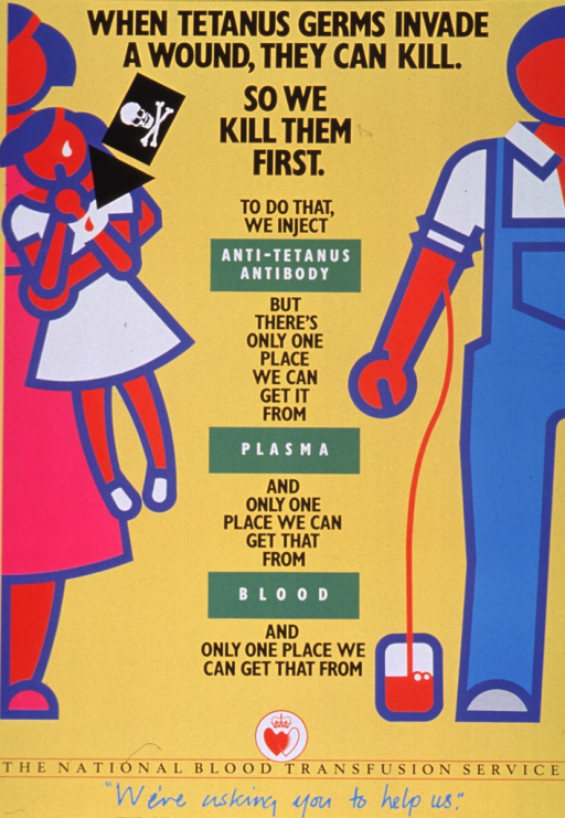 <p>Yellow poster with multicolor lettering.  Title at top of poster.  Visual images are abstract illustrations of people.  On left side of poster, a woman holds a little girl who has a wound on her wrist.  A skull and crossbones flag and an arrow point to the wound.  On right side of poster, a man in overalls donates blood.  Tubing stretches from his arm to a blood collection bag at his feet.  Text between images discusses how anti-tetanus antibodies come from plasma, which comes from blood, and how there is but a single source for each component.  Note and publisher information at bottom of poster.</p>