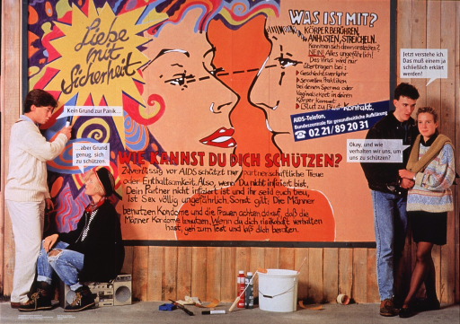 <p>Multicolor poster.  Title in upper left corner.  Image combines color photo reproductions and illustrations.  Two male-female teen couples stand and sit in front of a fence or wall.  The wall bears the title, both notes, and additional text;  the text has the effect of graffiti.  The wall also features the faces of a cartoon-style male-female couple.  Text on the wall deals with how AIDS is transmitted and how to protect oneself from AIDS.  The teens also have text balloons in which they acknowledge the importance of prevention.  Publisher information in lower left corner.</p>