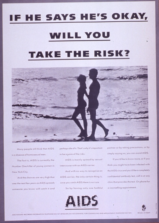 <p>Predominantly white poster with black lettering.  Title at top of poster.  Visual image is a b&amp;w photo reproduction featuring a male-female couple walking on a beach.  Caption below photo stresses that anyone can get AIDS and urges limiting sexual partners and being tested.  Note below caption.  Publisher information in lower right corner.</p>