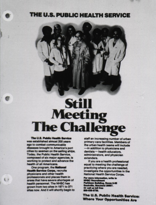<p>Advertisement to attract physicians to the Public Health Service; visual motif: a multi-ethnic, multi-racial group of men and women wearing the accouterments of health care personnel.</p>