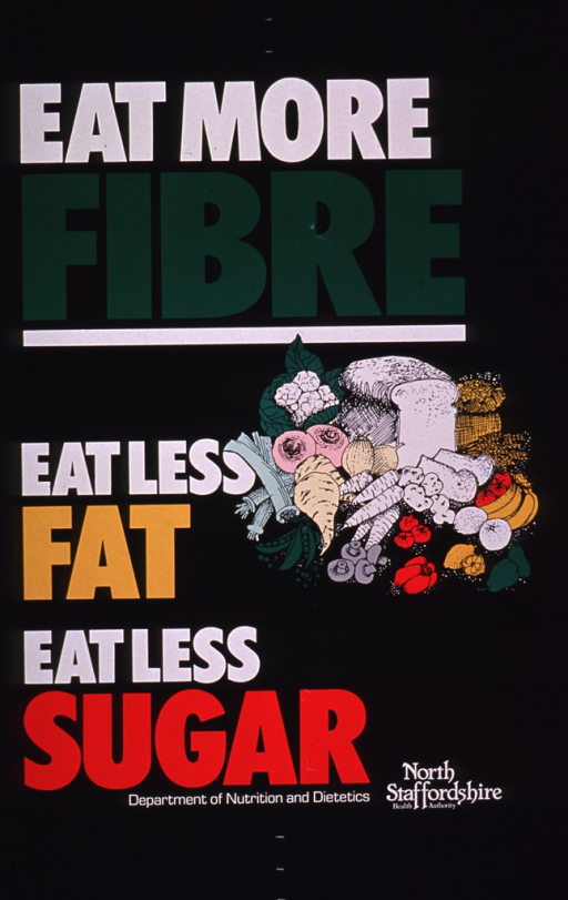 <p>Predominantly black poster with multicolor lettering.  Title at top of poster.  Caption below.  Visual image is an illustration of an array of healthy foods, including fruits, vegetables, and grains.  Publisher information at bottom of poster.</p>