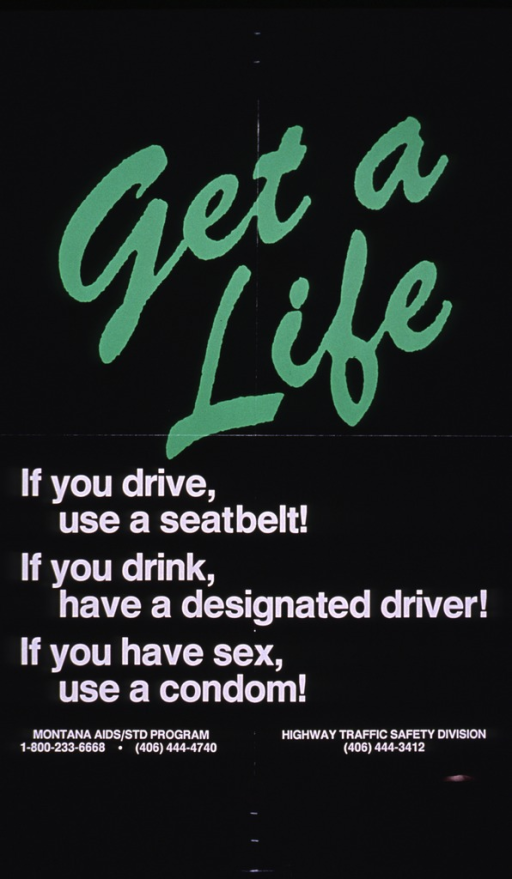 <p>Black poster with the title in green script and the remaining text in white print.</p>