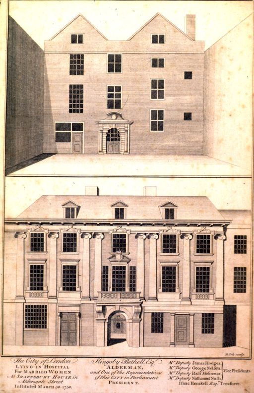 <p>The top half of the engraving shows the inner courtyard of the four-story hospital.  The bottom half shows the facade.</p>