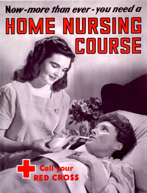 <p>Poster in black and white, with some of the print and the Red Cross logo in red. A young female nurse holds a glass of milk with a straw while a female patient drinks through the straw.</p>