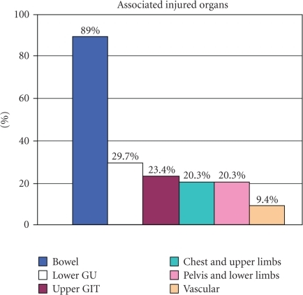 Concomitant injuries in 64 penetrating bladder injury patients.