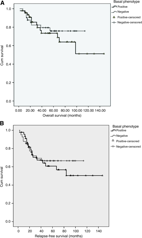 Overall survival (A) and relapse-free survival (B) analysis for patients either positive or negative for basal phenotype (BP).