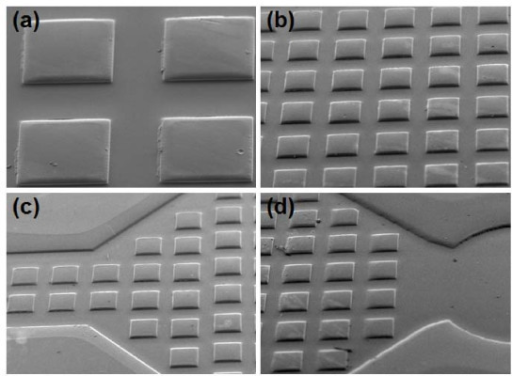 SEM images of a microfluidic channel with 300 μm pillars. (a) Closure image of 300 μm pillars; (b) arrays of 300 μm pillars; (c) 300 μm pillars in the regions just after the inlet; and (d) 300 μm pillars in the region just before the outlet.